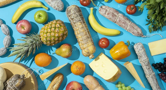 Fresh grocery shopping products background