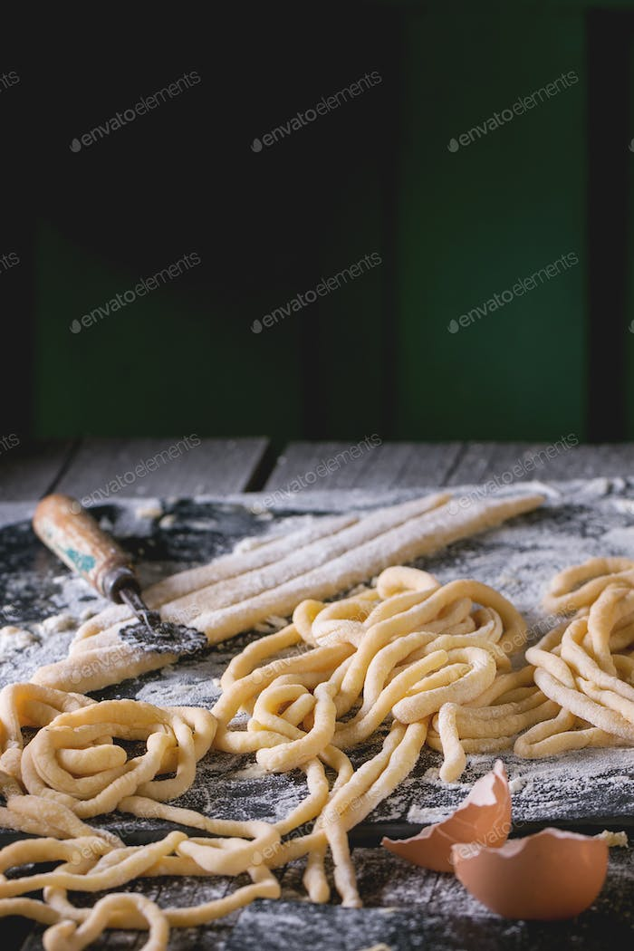 Fresh homemade pasta pici