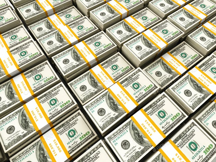Background of rows of dollar bundles