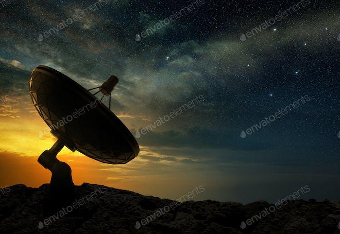 radio telescope at sunset, 3d illustration