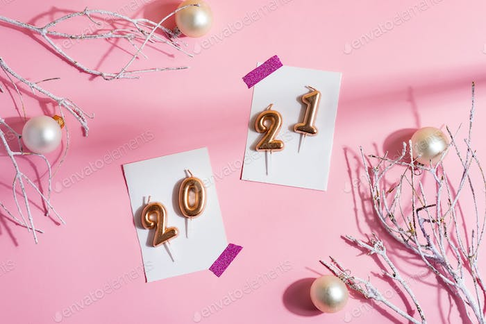 Christmas corner frame with numbers 2021 and decoration