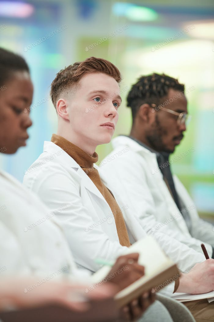 Male Medical Student in Lecture