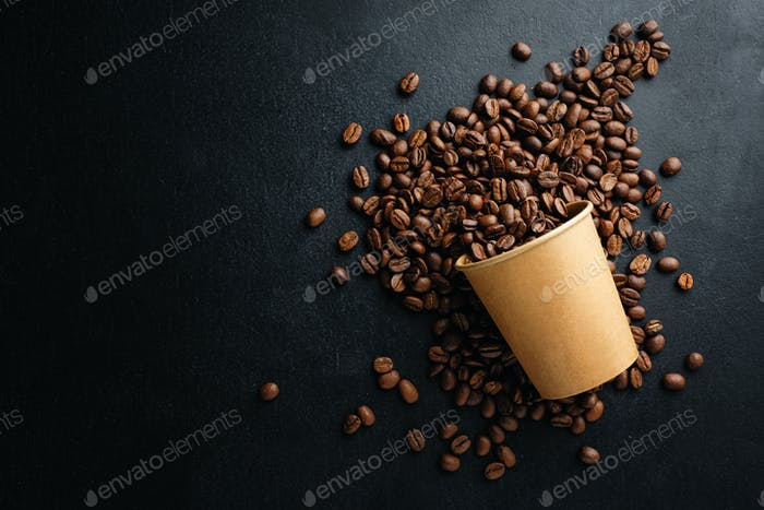 Coffee beans in paper cup