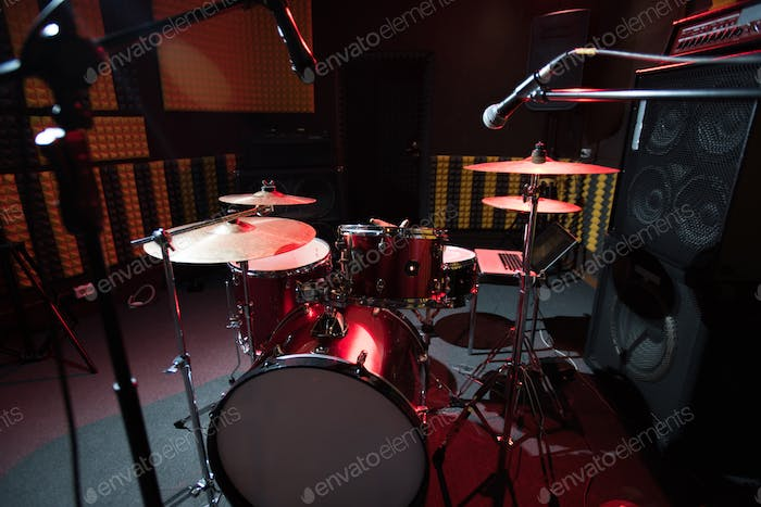 Drum Set in Record Studio