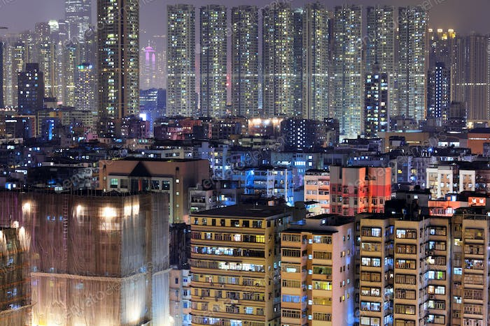 apartment building in Hong Kong at night