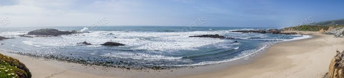 Panoramic view of Pescadero State Beach, Pacific Ocean Coastline, California