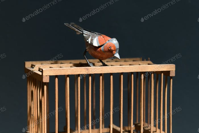 Colorful old vintage metal bird perched on a cage