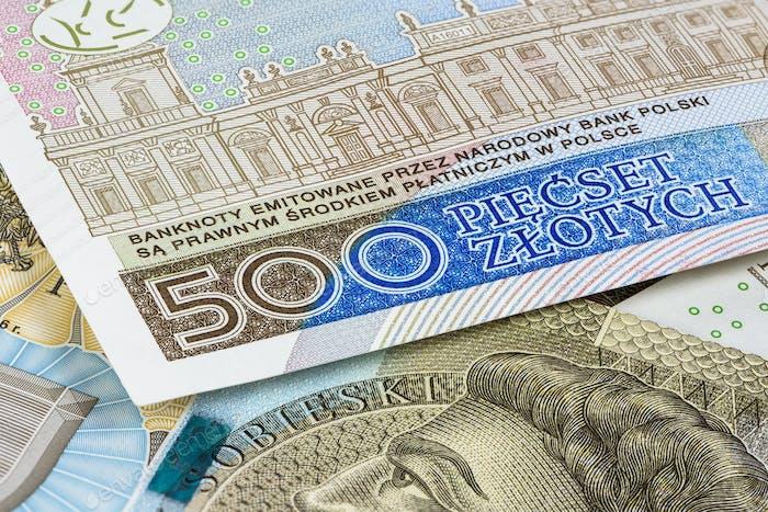 Nahaufnahme von 500 PLN Banknoten