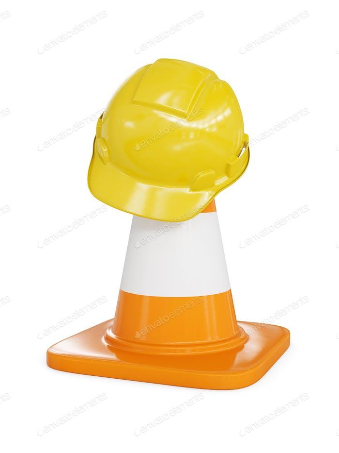 Gelber harter Hut auf Autobahnverkehr Kegel