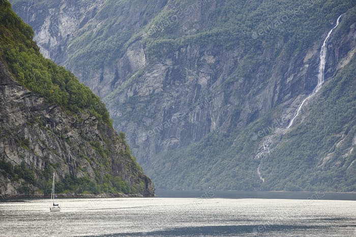 Norwegian fjord landscape. Yacht trip. Visit Norway. Tourism. Horizontal