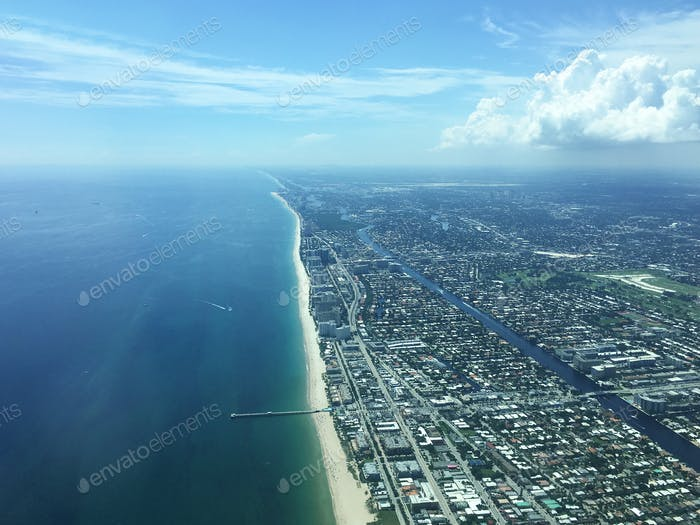 Aerial view of Miami Hollywood, Florida, USA
