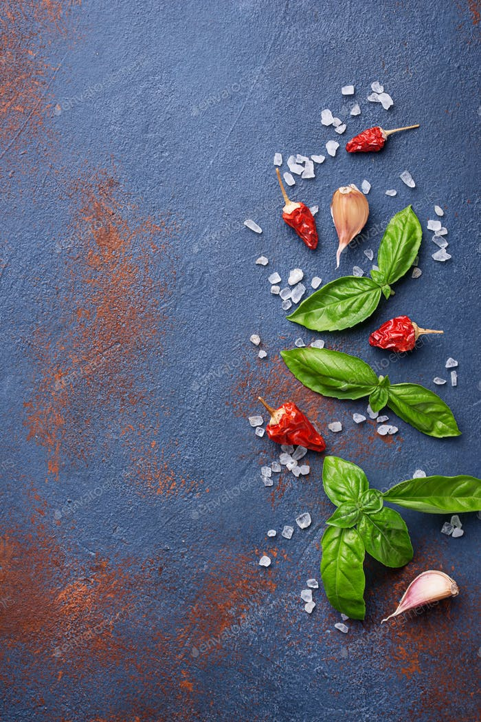 Red pepper, salt, garlic and basil