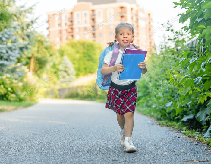 Pupil of primary school with backpack