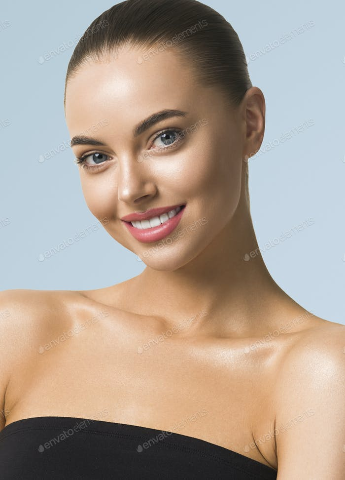 Head shot female natural make up beautiful woman