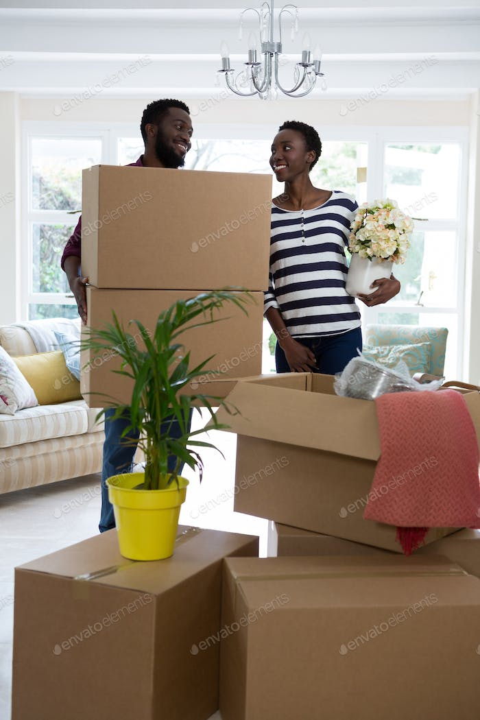 Couple carrying big cardboard box and vase at new home
