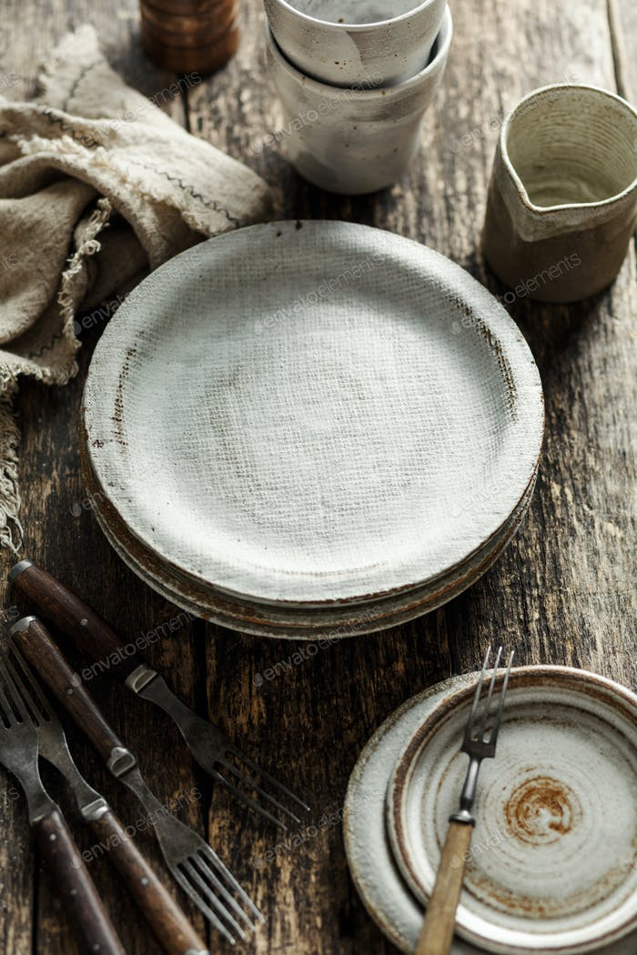 Empty ceramic tableware