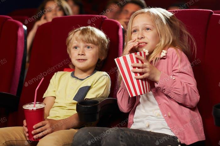 Children Watching Movie in Cinema