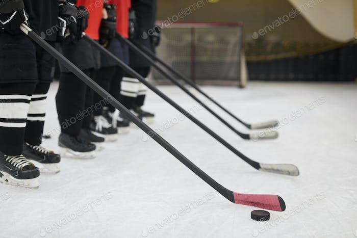Hockey Team in Row Background