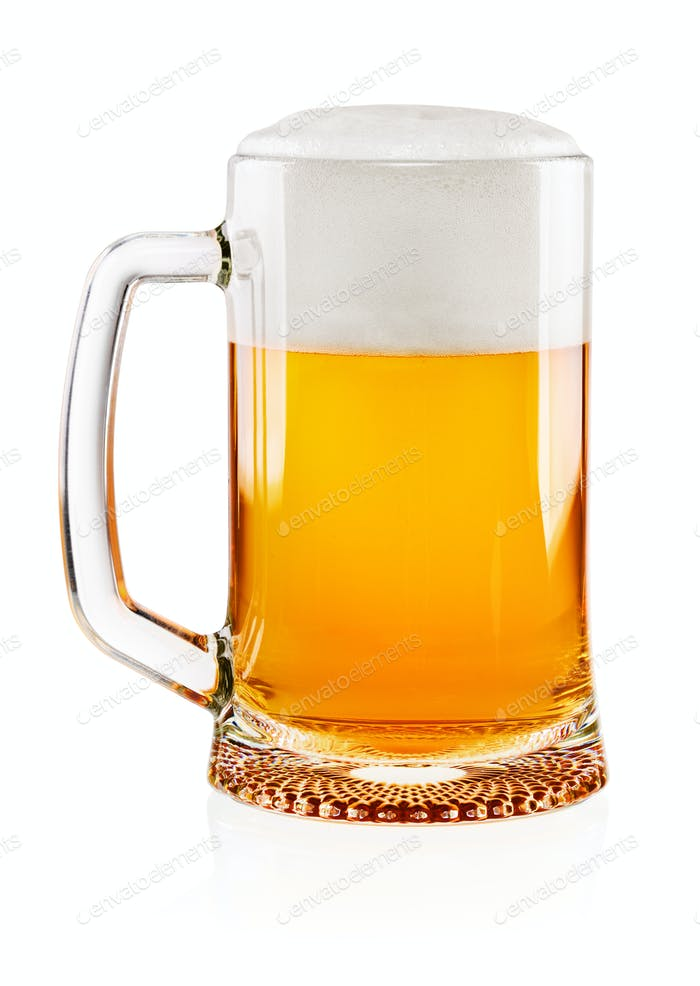 Glass of beer on white