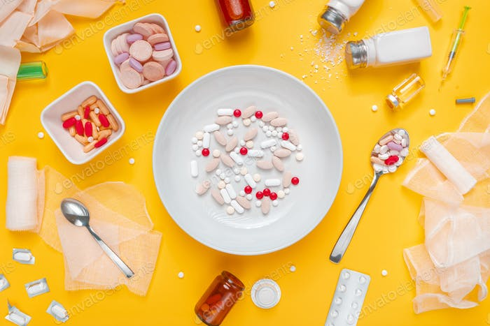 Drug abuse and medical overuse concept