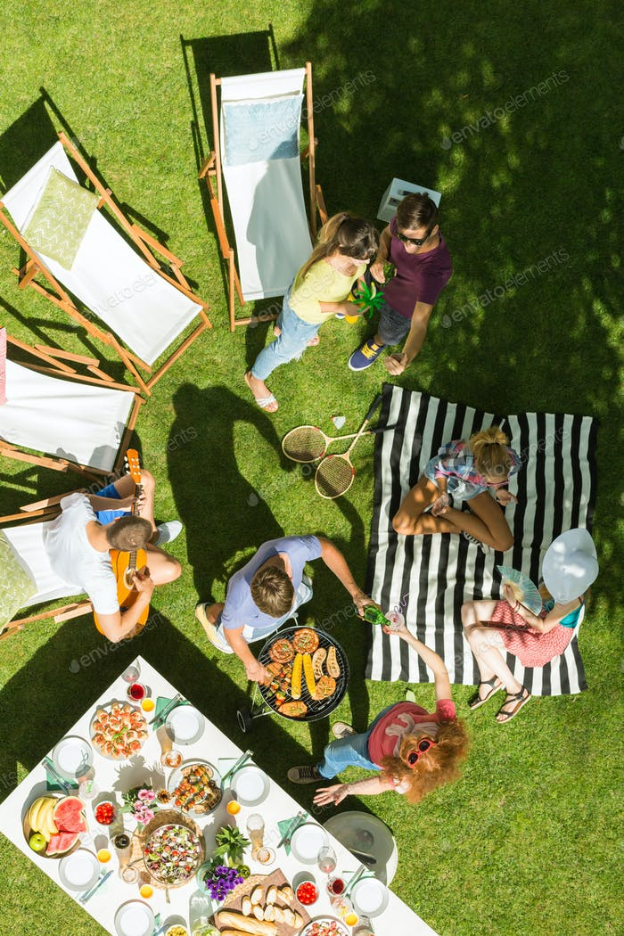 Group of friends having picnic