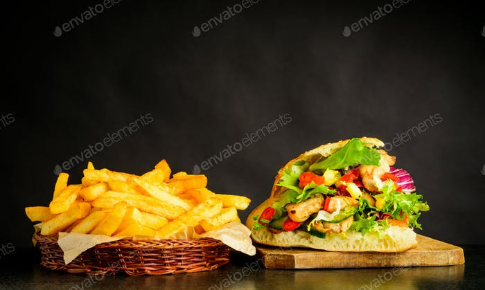 Doner Kebap Sandwich and Fries