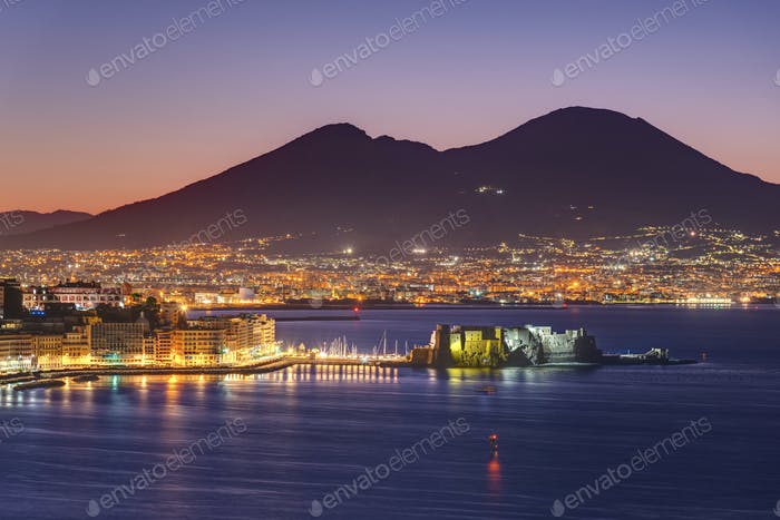 View over the Gulf of Naples before sunrise