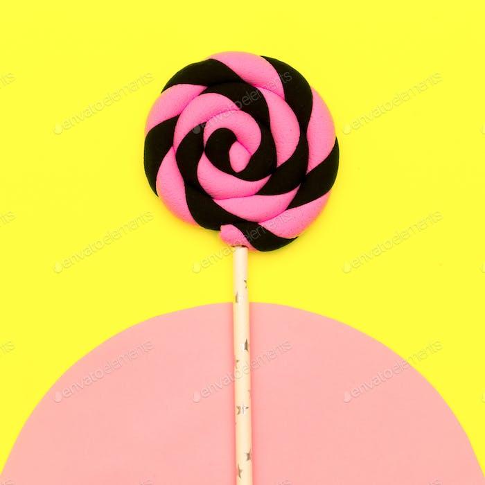 Candy Lolipop art. Sweet Vanilla Mood. Flatlay Design