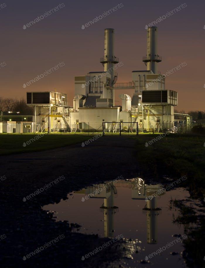 Gas Compressor Station At Night