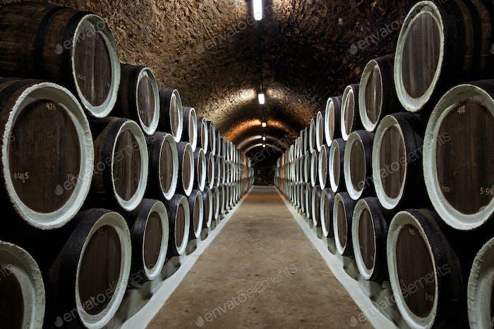Warehoused barrels in the wine cellar