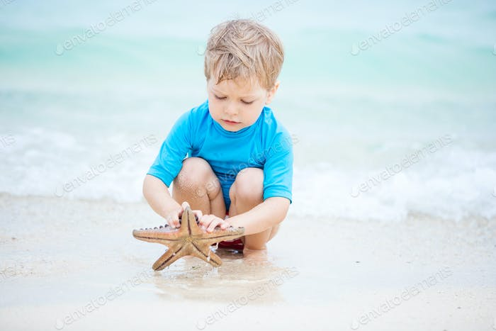 Little boy picking up starfish and watching it in shallow sea water