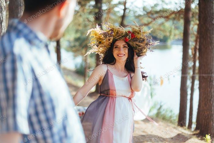 portrait girl with a wreath on head