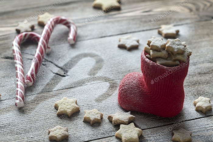 Butter cookies in the Christmas stocking
