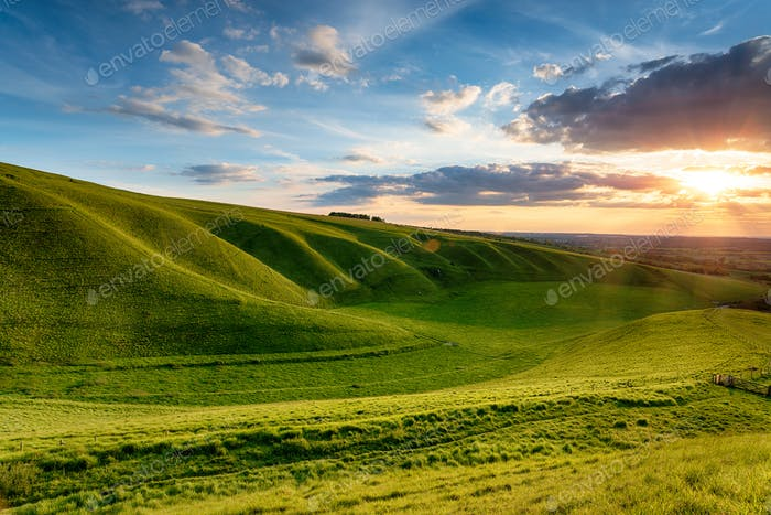 Dramatic sunset over The Manger at Uffington in Oxforshire,