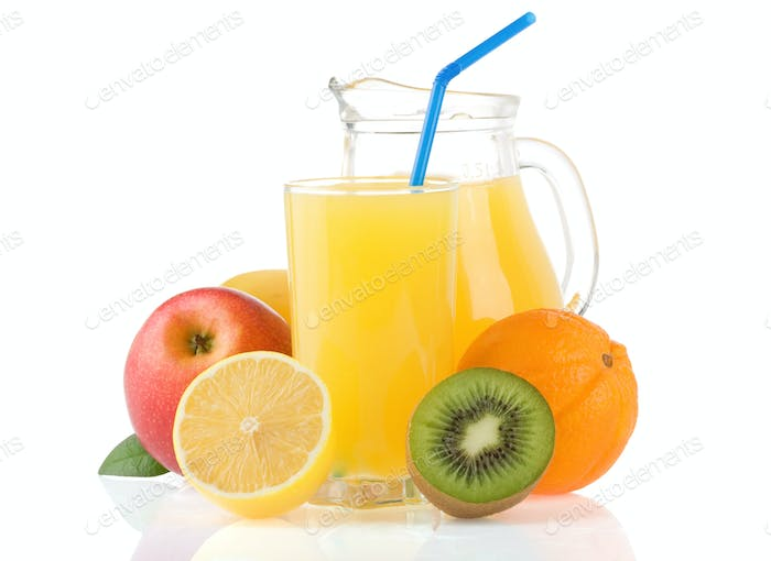 fresh fruits and juice in glass isolated on white