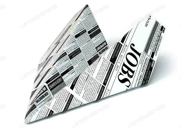 Job seeking concept. Newspaper as paper airplane.