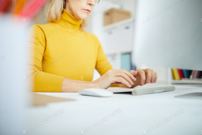 Closeup of Businesswoman Typing