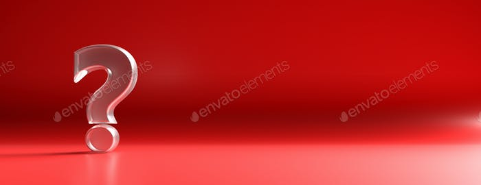 Exclamation mark on red background. 3d illustration