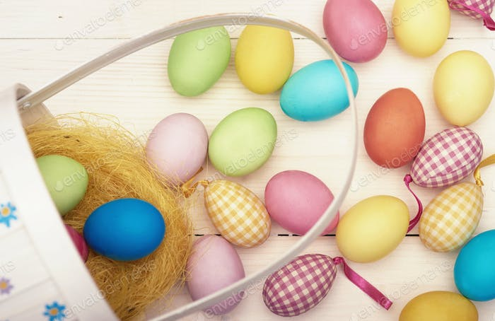 Retro easter basket and colorful easter eggs