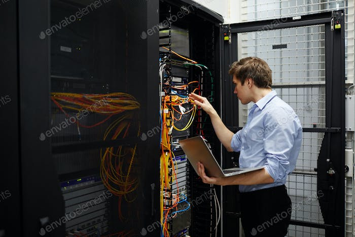 Working in data storage lab