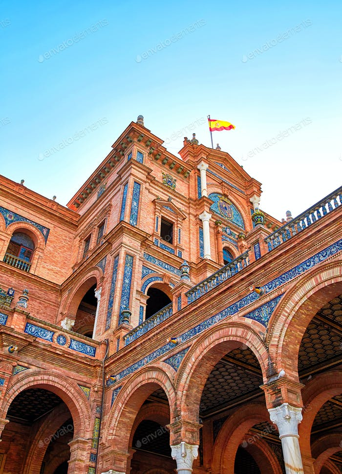 Fragment of central building of Spain Square