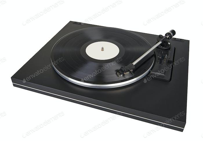 vinyl player on white background