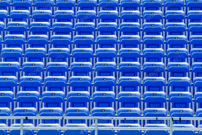 Empty Blue Bleachers