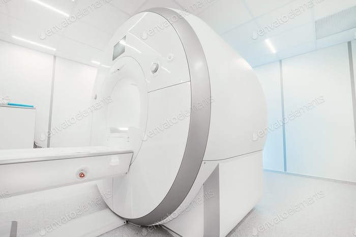 MRI - Magnetic resonance imaging scan device. MRI scaner room