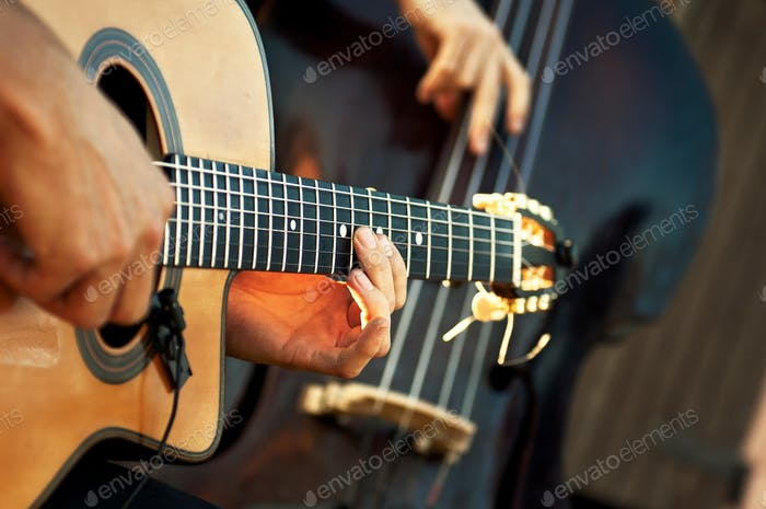 Acoustic guitar with double bass