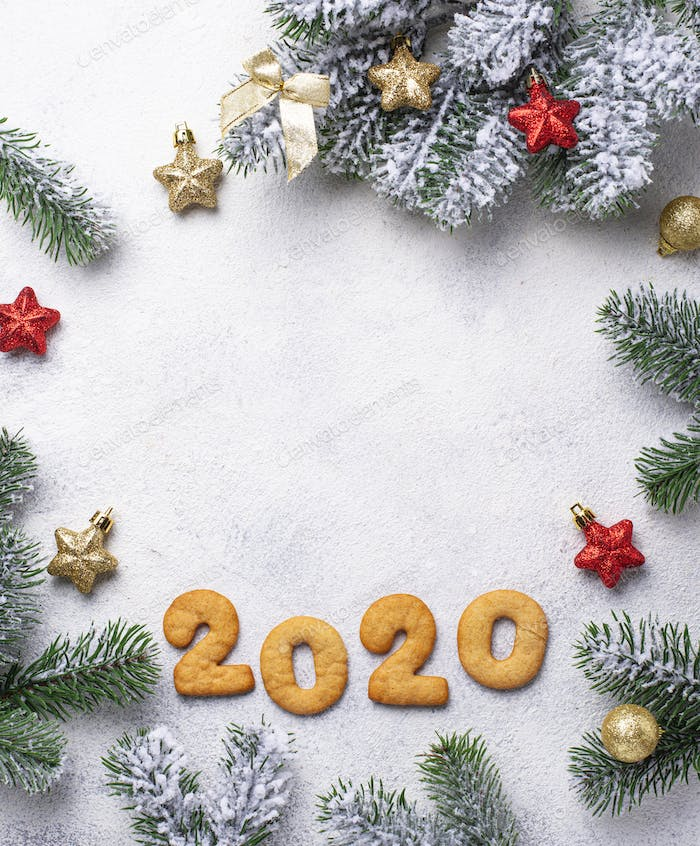 New Year cookies in shape 2020