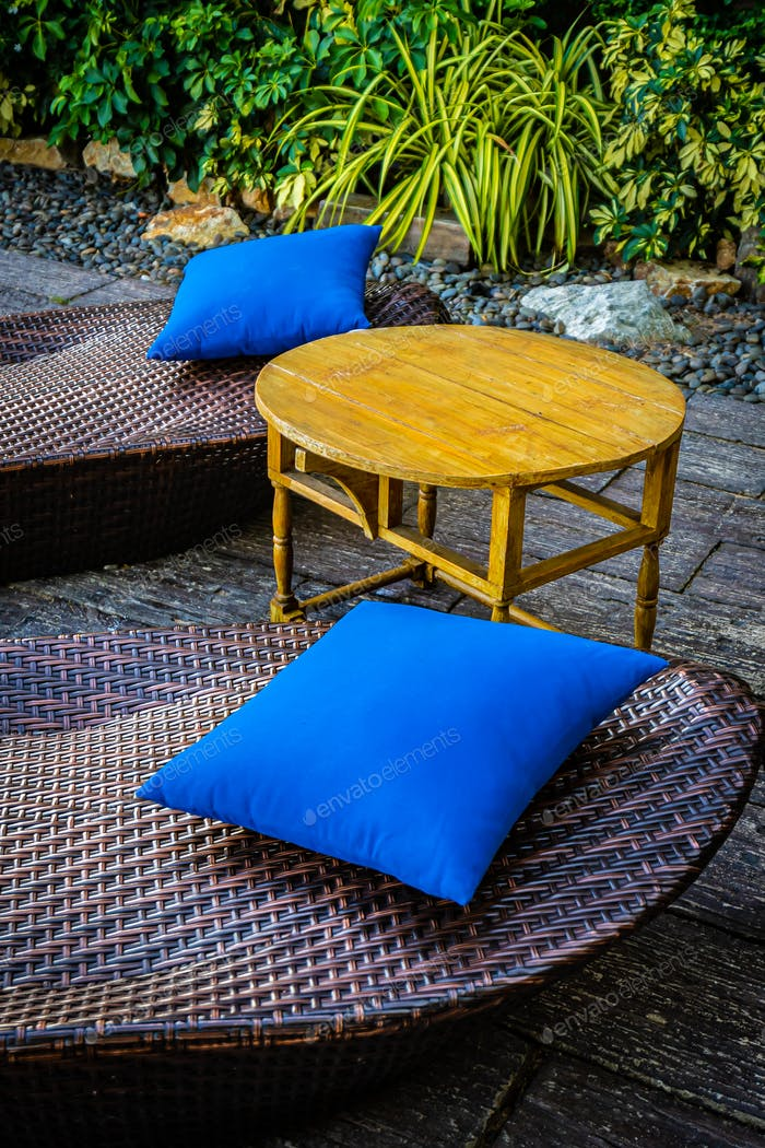 Empty chair decoration outdoor patio