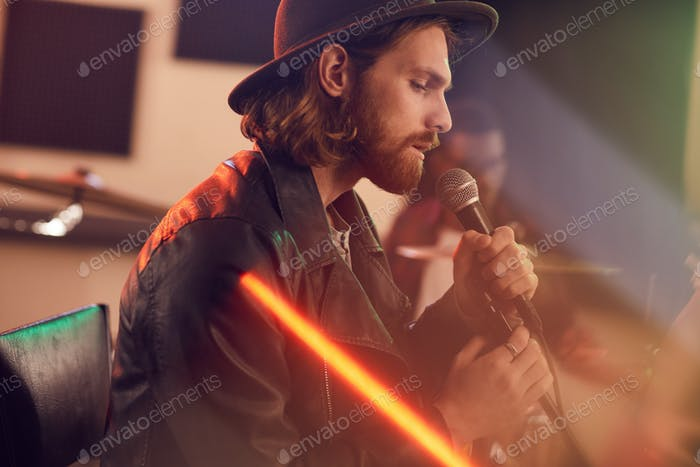 Seitenansicht bei Handsome Singer im Studio