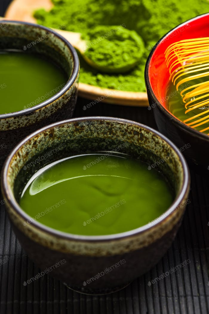 Drinking ceremony, relaxing green matcha tea