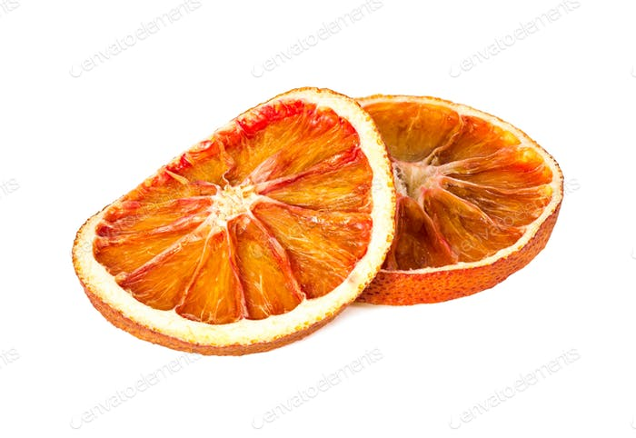 Two dried orange slices isolated on white